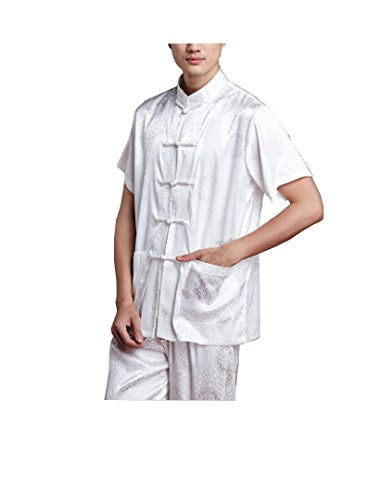 T-Shirt à Manches Courtes Tang Costume Hommes Taiji Kung Fu Chemise Trois Couleurs en Option