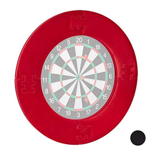 Relaxdays Unisex- Erwachsene Dart Catchring R7, 4-teilig, Schutzring für 45 cm Dartscheibe, stabiler Wandschutz, EVA, Gesamt-Ø 72 cm, rot, 72 x 72 x 3 cm