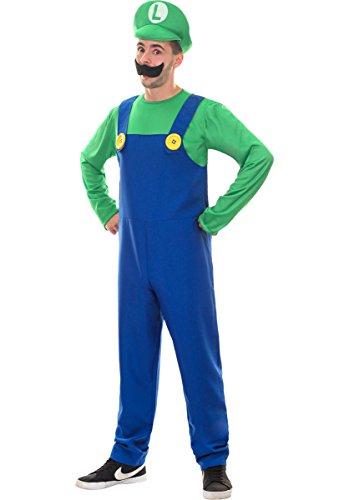 Escapade Luigi Super Mario Bros Klempner L Deluxe Kostüm
