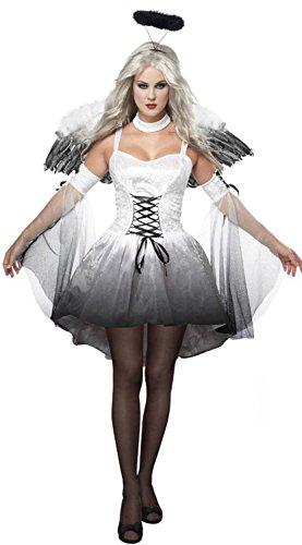 (Aimerfeel Frauen Basis-Engel Cosplay Kleid mit Flügeln der Dame gefallen Perform Kostüme Halloween und Weihnachten Party, Größe passen 34-36)