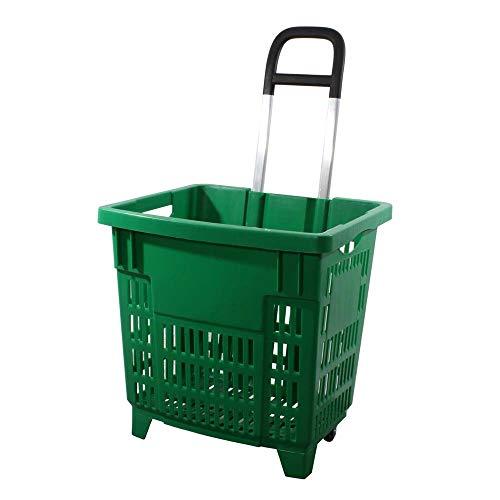 GERSO Einkaufstrolley 55 Liter grün mit Rollen ABS-Kunststoff Einkaufskorb fahrbar bunt
