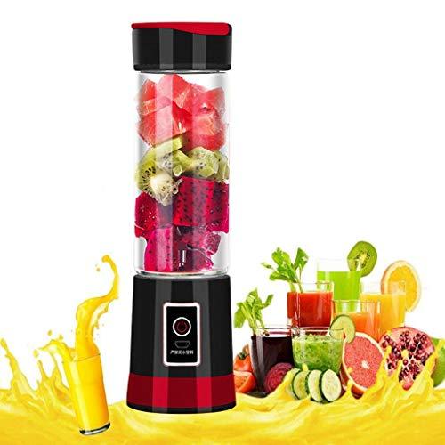 XVCHANGQING Exprimidor Exprimidor eléctrico portátil De mano Mezclador de frutas y verduras Botella Licuadora Licuadora Recargable Cocina casera Jugo Taza, Rojo, EE. UU. 220V