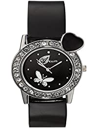 Arum Black Round Dial Leather Strap Fashion Wrist Watch For Women's And Girl's