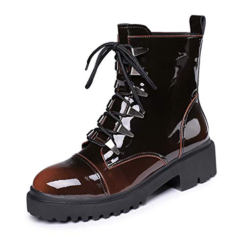 Women Martin Lace Up Ankle Boots Patent Leather Trend Casual Wild Wear Women