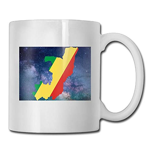 Daawqee Becher Coffee Mug Flag of The Republic of The Congo Mugs Personalized Ceramic Coffee Tea Cups Double-Side Printing 11oz