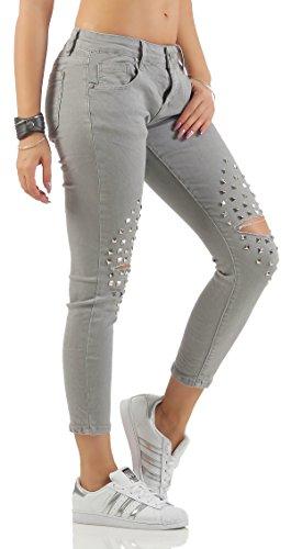 SKUTARI Damen Jeans Skinny Röhrenjeans Nieten Destroyed Biker Jeans Grau1