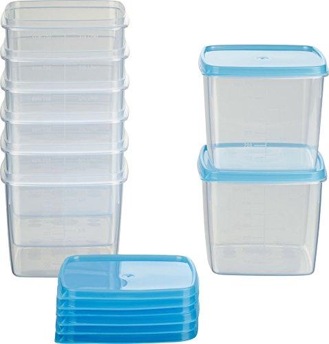 MiraHome contenitore congelamento quadrato 1l 11x11x11,7 cm set di 8 azzurro Austrian Quality