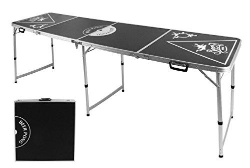 Spetebo Stabiler Alu Bier Pong Tisch - höhenverstellbar + Tragegriff - Beer Pong Table Klapptisch