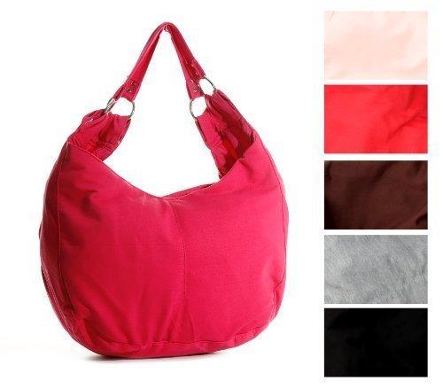Firenze Damen Handtasche Henkeltasche mit Reissverschluß Pink