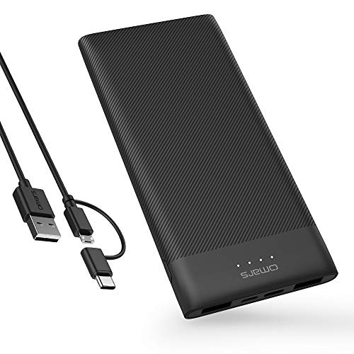 Omars Powerbank 10000mAh Externer Akku für Handy Super Leicht Slim 3 Ausgänge Ports (2 USB & USB C 5V/3A) 2 Eingänge (Typ C & Micro USB) LED Display für iPhone 5 6 7 8 X Plus Samsung Galaxy S9 S8 S7 Huawei iPad und mehr 10000 Kompakt
