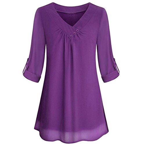 en Lange Ärmel Oben Beiläufig V-Ausschnitt Button Layered Chiffon Blusen (Lila, L) (Slipknot Anzug)