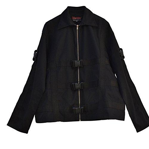 El celibato chaqueta 20099800.008XXL Mujeres gótica de Steampunk o un abrigo corto con bandas decorativas - hip-longitud, gran XXL, negro