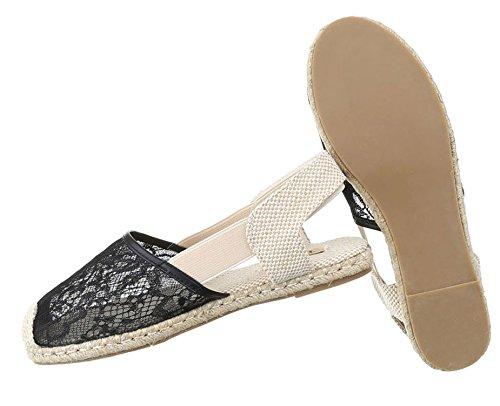 Damen Halbschuhe Schuhe Slipper Loafer Mokassins Flats Slip On Schwarz 36 37 38 39 40 41 Schwarz
