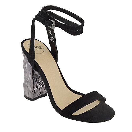 ESSEX GLAM Sandalo Donna Sintetico Barely There Cinturino Caviglia Cromato Tacco a Blocco Festa Nero Finto Scamosciato