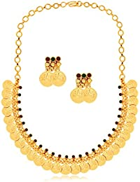Spargz Laxmi Coin Designer Gold Plated Brass Metal Choker Necklace Set For Women