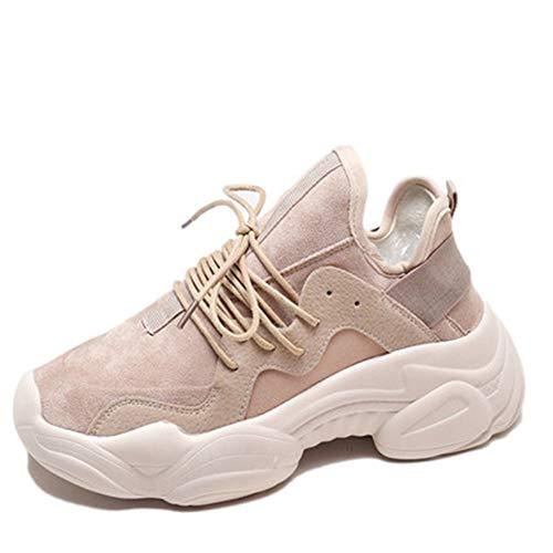 Zapatos Casuales de Las Mujeres Chicas Aumento de la Altura Moda Caminar Zapatillas de Deporte Primavera Verano Mujer con Cordones Zapatos de Malla Transpirable