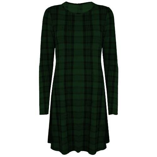 Stretch pour femme à manches longues, un Line Robe Patineus'évasée Swing des neiges Taille 36-50 Tartan vert