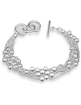 Hosaire 1x Damen Silber Armband Mode Mädchen Sand-perlen Wristband Schmuckzubehör