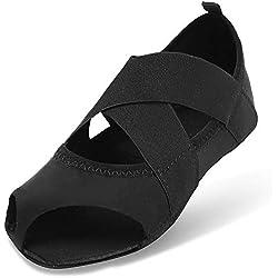 JOINFREE Zapatillas De Ballet para Niñas Zapatillas De Yoga De Gimnasia Clásica Zapatillas De Yoga (Niño Pequeño/Niño Grande/Mujeres) Negro EU 35-36