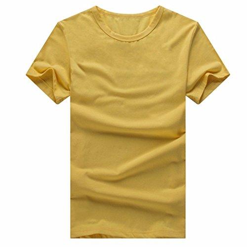 QIYUN.Z Männer Unisex Normallack T-Shirt Kurzarm Baumwolle Sommerhemden Team Bluse Gelb