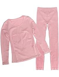 D DOLITY Ropa Interior Térmica Mujer Encaje Cuello En V Tops Pantalones Long Johns Set Pijama