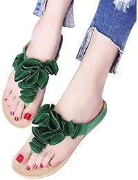 Chanclas Floral de Playa para Mujer, QinMM Zapatos de Baño Verano de Sandalias Fiesta Casual Roma de Vestir