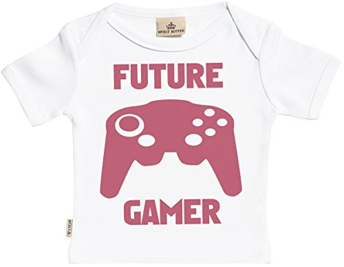 SR - dans boîte cadeau - Future Gamer T-Shirt Bébé fille - T-Shirt Bébé garçon - Haut Bébé - Coton Bio - coffrets cadeaux pour - 6-12 mois Blanc