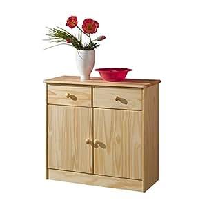 Kommode Anrichte Sideboard RONDO, 2 Türen +2 Schubladen, Kiefer massiv, natur lackiert