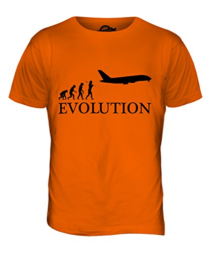 CandyMix Aereo A Fusoliera Larga Evoluzione Umana T-Shirt da Uomo Maglietta Arancione