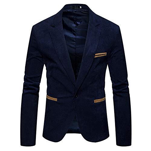 Yvelands Blazer Top Jacke,Herren Herbst Winter Lässige Corduroy Schlank Langarm Mantel Anzug Blazer Top(EU-52/L2,Marine) - - Knopf-manschette-wolle Blazer