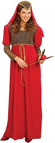 Damen Rote Romeo and Juliet Mittelalterlich Shakespeare Buch Tag Woche Verkleidung Kleid Kostüm Outfit STD &Übergröße - Rot, Rot, STD (UK 10-14)