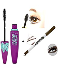 Mascara Volum' Express- 3X plus de volume - Gemey Maybelline - Brun Glamour + 1 Crayon Liner Khol Brun - Gemey...