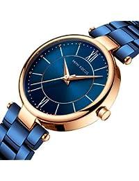 XKC-watches Relojes de Mujer, Mini Focus Mujer Reloj de Pulsera Japonés Cuarzo Acero