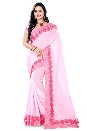 Riva Enterprise Women's Georgette baby pink color saree with blouse (Riva_18)