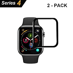 Aottom Kompatibel Apple Watch Folie 44mm Series 4 Displayschutz Apple Watch 4 Schutzglas iWatch 44mm Glas Folie Full Screen Protector Tempered Glass Film für Apple Watch Series 4 44mm[2 Stück]