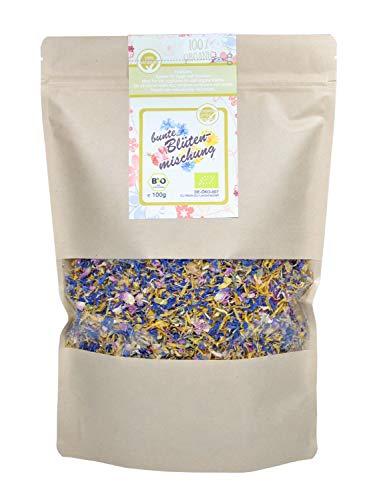 direct&friendly Bio bunte Blütenmischung - farbenfrohe Essblüten-Mischung aus Rosen-, Ringelblumen- und Kornblumenblütenblättern (100 g)