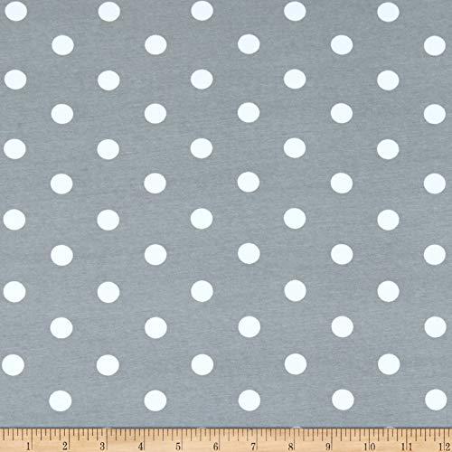 Fabric Fabric & Fabric Merchants Cotton Spandex Jersey Knit Polka Dot Gray/Ivory Stoff, Textil, by The Yard -