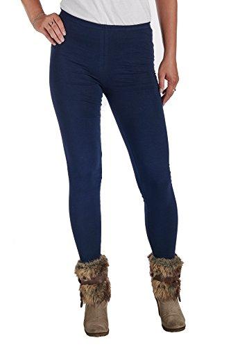 jandaz® Standard- oder Winter Dick voller Länge oder zugeschnitten Leggings Größen S-3X L 95% Baumwolle Vielzahl von Farben. Winter Thick Navy Blue