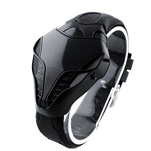 Abeillo Fashion Cobra Sportuhr Herren Freizeituhr Erstaunlicher Schlangenkopf Design Rote LED Digitaluhr Silikonband Uhr Schwarz Coole Gadgets