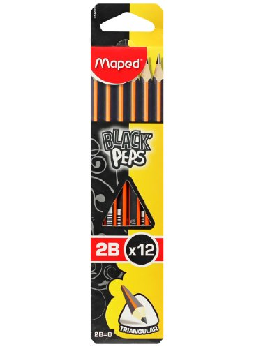 MAPED BLACK PEPS PENCILS with ERASER RUBBER BOXED 2B [Box of 12 Pencils]