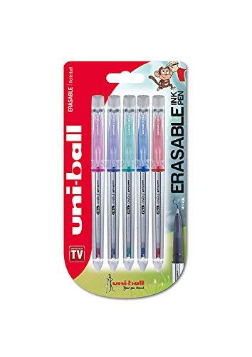 Penna rollerball cancellabili UF-220 Signo TSI, con inchiostro cancellabile Rosso / Cielo Blu / Verde / Rosa / Viola, pennino di medie dimensioni, confezione da 5