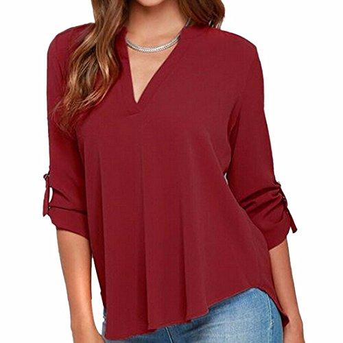 Tops Femmes Sexy V-Cou T-Shirt Ol Blouse-5Xl De Manches Longues Occasionnels Mousseline chemisier Red Wine