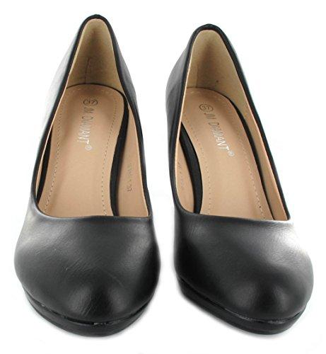 Femme Cour Chaussures Mid talon travail Bureau Chaussures noir mat