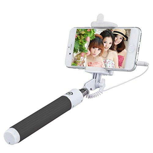 Selfie Stick, Valenth 3.5mm Audio Cable Foldable Extendable Wired Monopod for iPhone 6S Plus, Samsung Galaxy S7 LG HTC Black Black