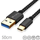 Câble USB Type C à USB 3.0 en Nylon de 0,5m Noir, câble de Chargement USB C,...