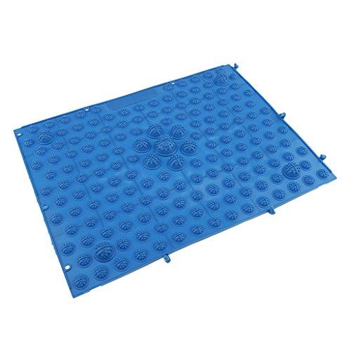 MagiDeal Fußreflexzonenmatte Fußmassagematte Badezimmer Fußmatte Spielzimmer Dekoration Fußreflexzonen Matte - 29x39cm, jedes Pad mit verbinder Punkte - Blau