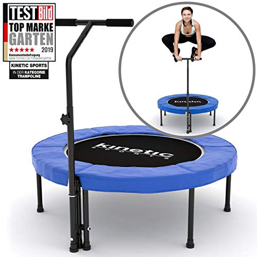 Kinetic Sports Fitness Trampolin Indoor Ø 100 cm, RUND, höhenverstellbarer Haltegriff, Gummiseilfederung, Randabdeckung BLAU, belastbar bis 120 kg