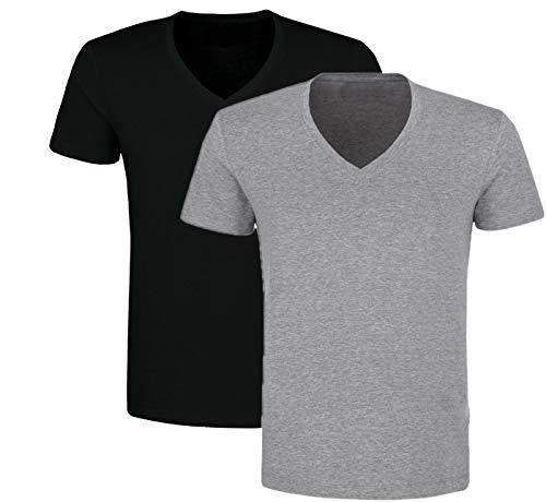 2er Pack Herren V-Neck Ausschnitt Unterhemden T-Shirt Baumwolle (Schwarz/Grau, 10 | 3XL) - Baumwolle V-neck T-shirt T-shirt