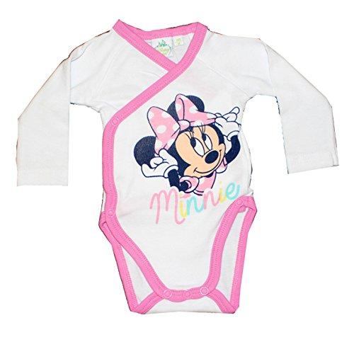 Disney Minnie Maus Mädchen Baby Body Langarm (62 (3 Monate), Weiß)