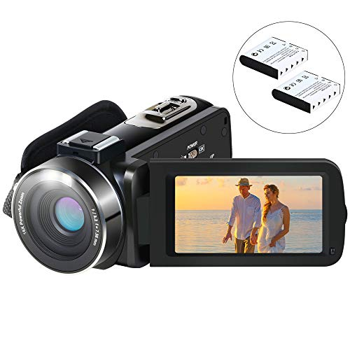 eloy YouTube Vlogging Kamera Videokamera HD 1080P 24.0MP LCD-Bildschirm 270 Grad Drehbar Bildschirm 16X Digitalzoom Pause-Funktion Digitalkamera-Recorder mit 2 Batterien ()